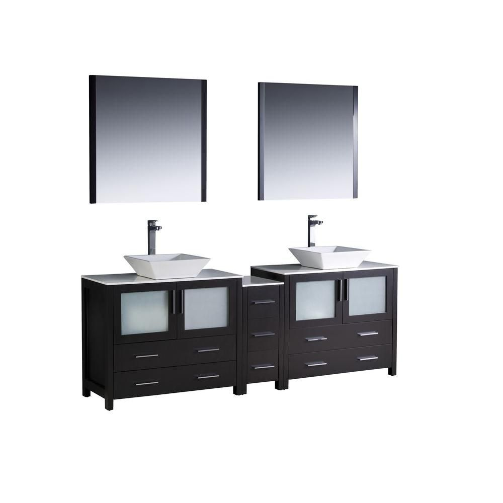 Torino 84-inch W Double Vanity in Espresso Finish with Side Cabinet and Vessel Sinks