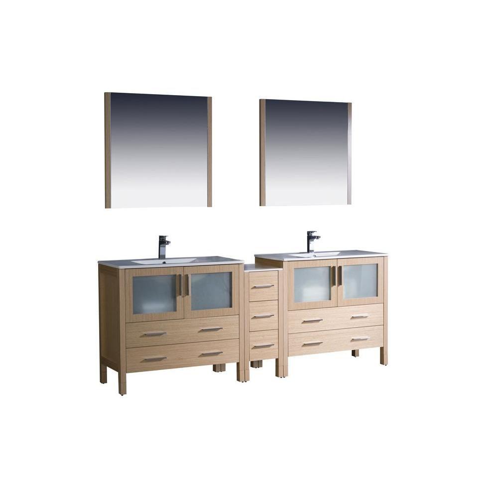 Torino Meuble-lavabo de salle de bains moderne 84 po à évier double chêne clair avec armoire laté...