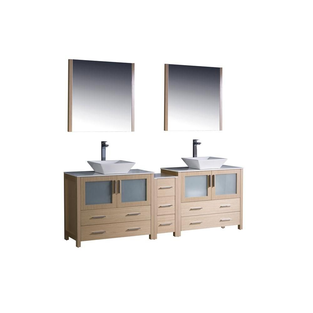 Torino 84-inch W Double Vanity in Light Oak Finish with Side Cabinet and Vessel Sinks