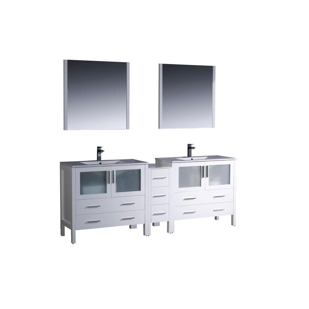 Torino 84-inch W Double Vanity in White with Side Cabinet and Undermount Sinks
