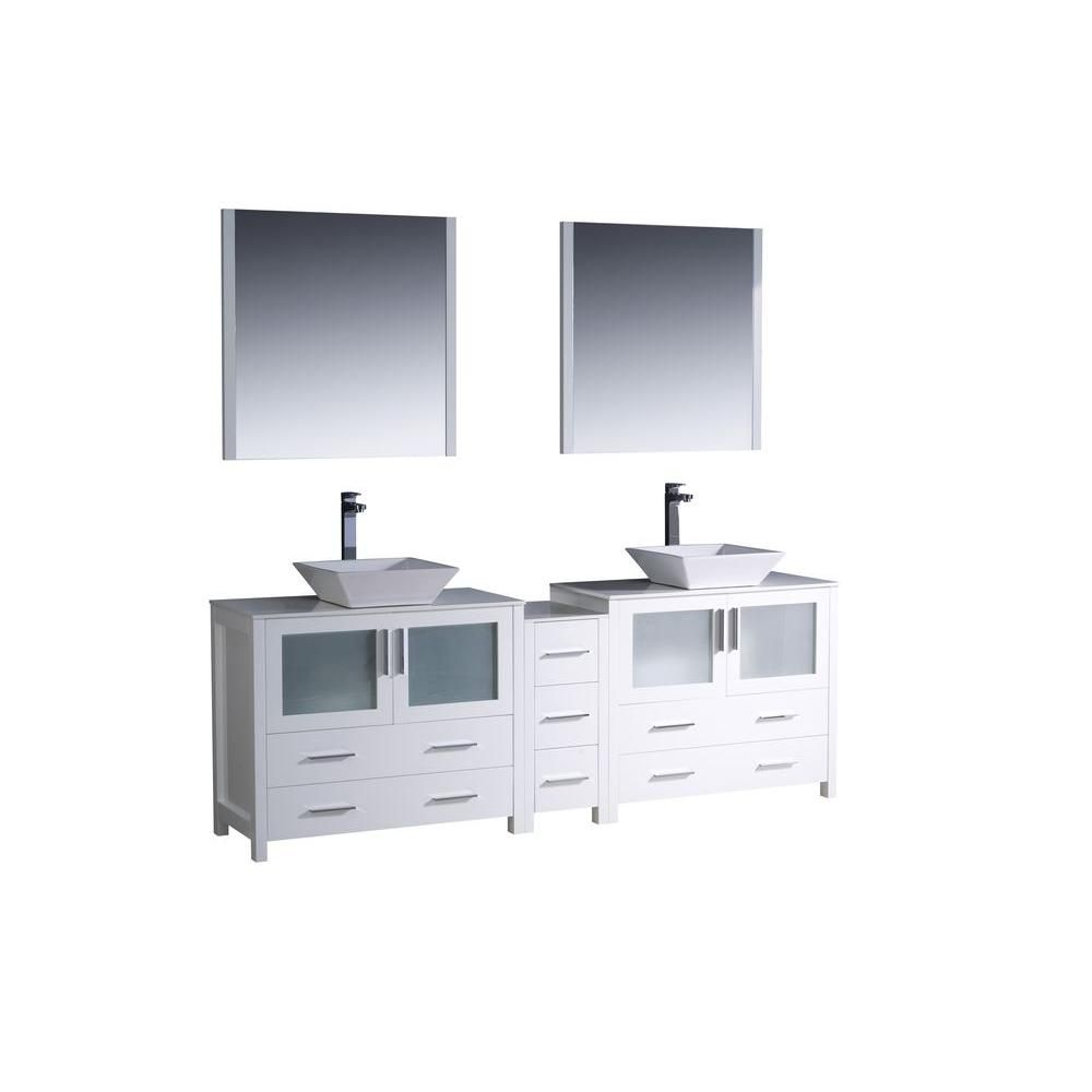 Torino 84-inch W Double Vanity in White with Side Cabinet and Vessel Sinks