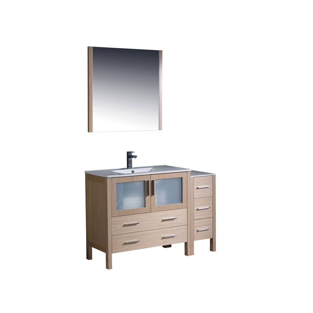Fresca Torino 48 Inch W Vanity In Light Oak Finish With Side Cabinet And Undermount Sink The