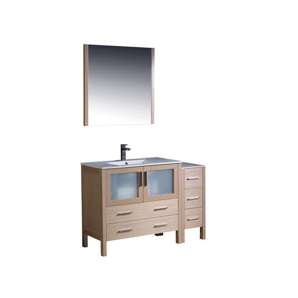 Torino Meuble-lavabo de salle de bains moderne 48 po chêne clair avec armoire latérale et éviers ...