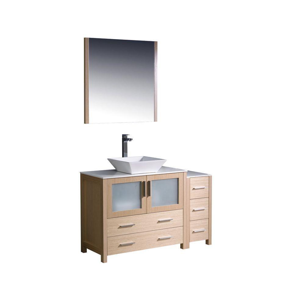 Torino Meuble-lavabo de salle de bains moderne 48 po chêne clair avec armoire latérale et évier v...