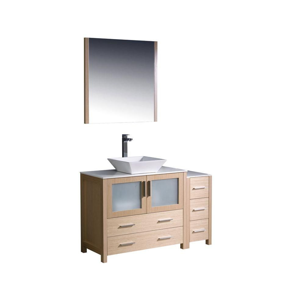 Torino 48-inch W Vanity in Light Oak Finish with Side Cabinet and Vessel Sink