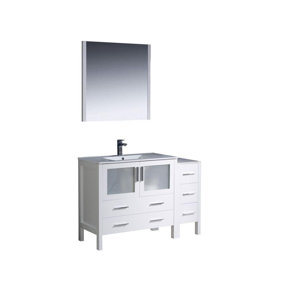 fresca torino 48 inch w vanity in white finish with side cabinet and