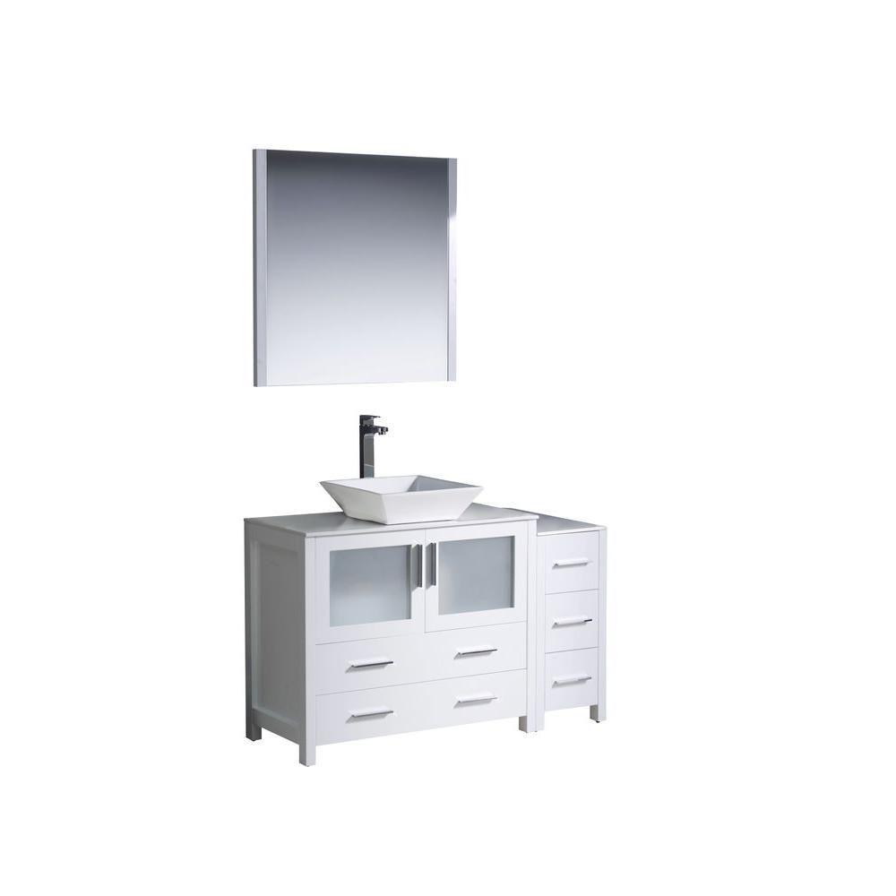 Torino Meuble-lavabo de salle de bains moderne 48 po blanc avec armoire latérale et évier vasque