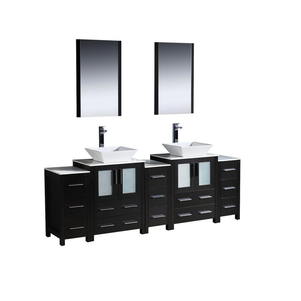 Torino Meuble-lavabo de salle de bains moderne 84 po à évier double espresso avec 3 armoires laté...