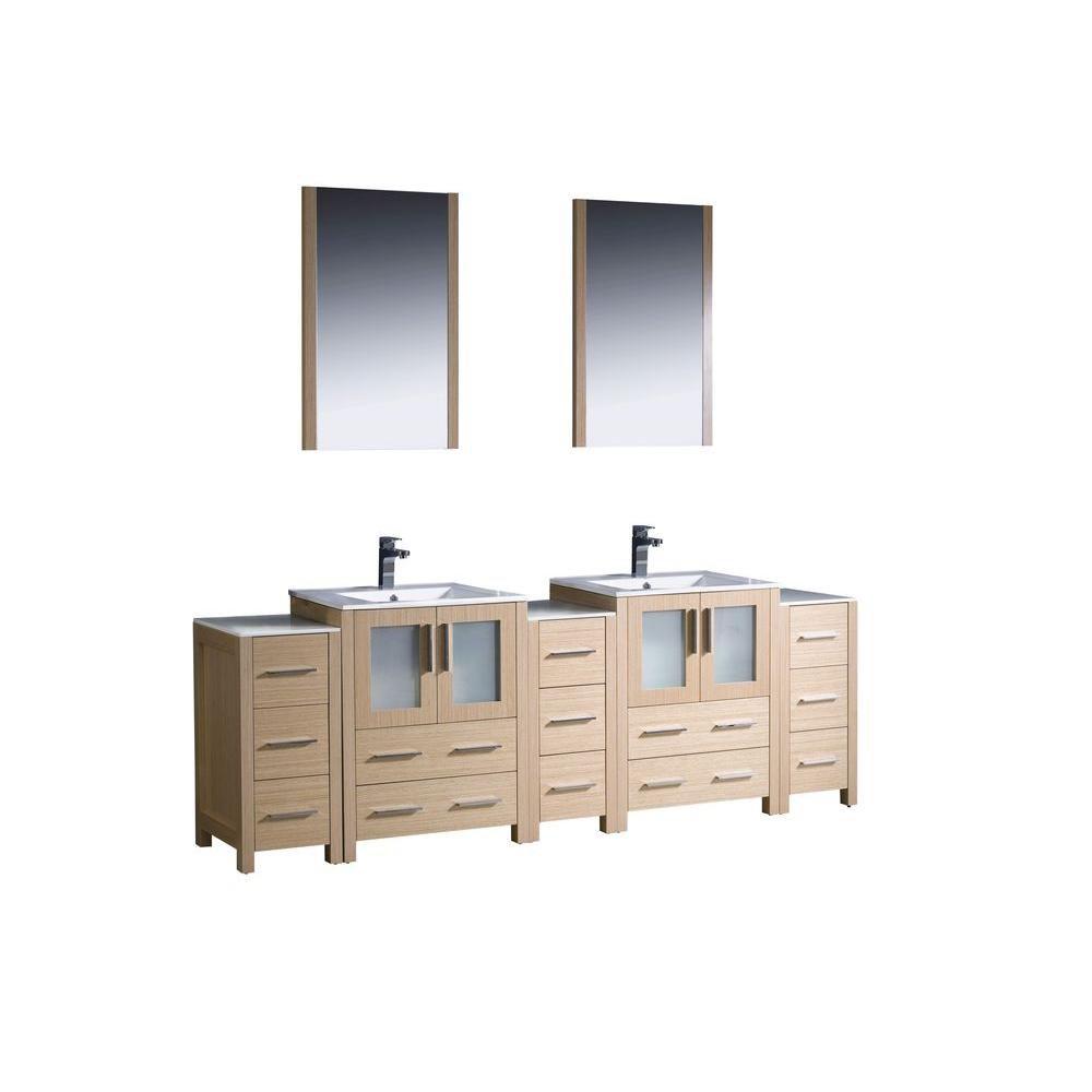 Torino Meuble-lavabo de salle de bains moderne 84 po à évier double chêne clair avec 3 armoires l...