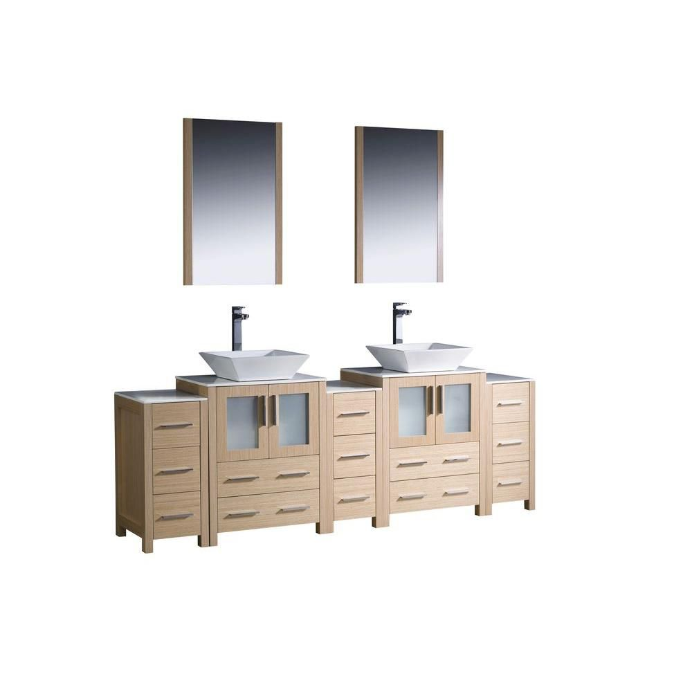 Torino 84-inch W Double Vanity in Light Oak with 3 Side Cabinets and Vessel Sinks