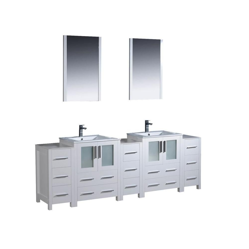 Torino 84-inch W Double Vanity in White with 3 Side Cabinets and Undermount Sinks