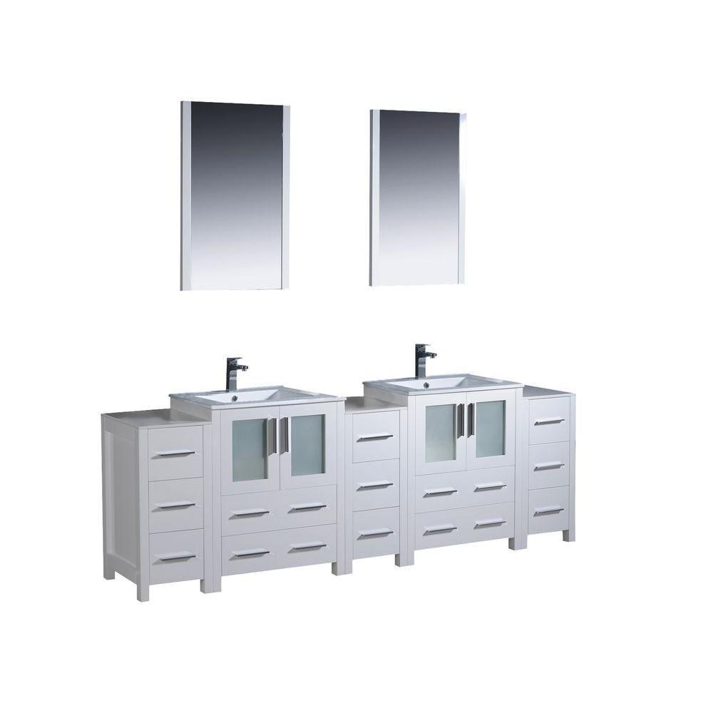 Torino Meuble-lavabo de salle de bains moderne 84 po à évier double blanc avec 3 armoires latéral...
