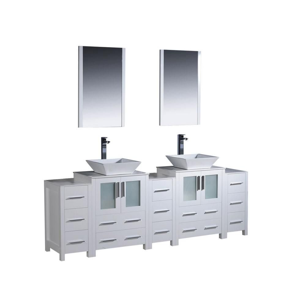 84 inch w double vanity in white with 3 side cabinets and vessel sinks