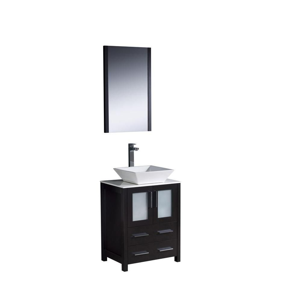 Torino 24 Inch Espresso Modern Bathroom Vanity With Vessel Sink