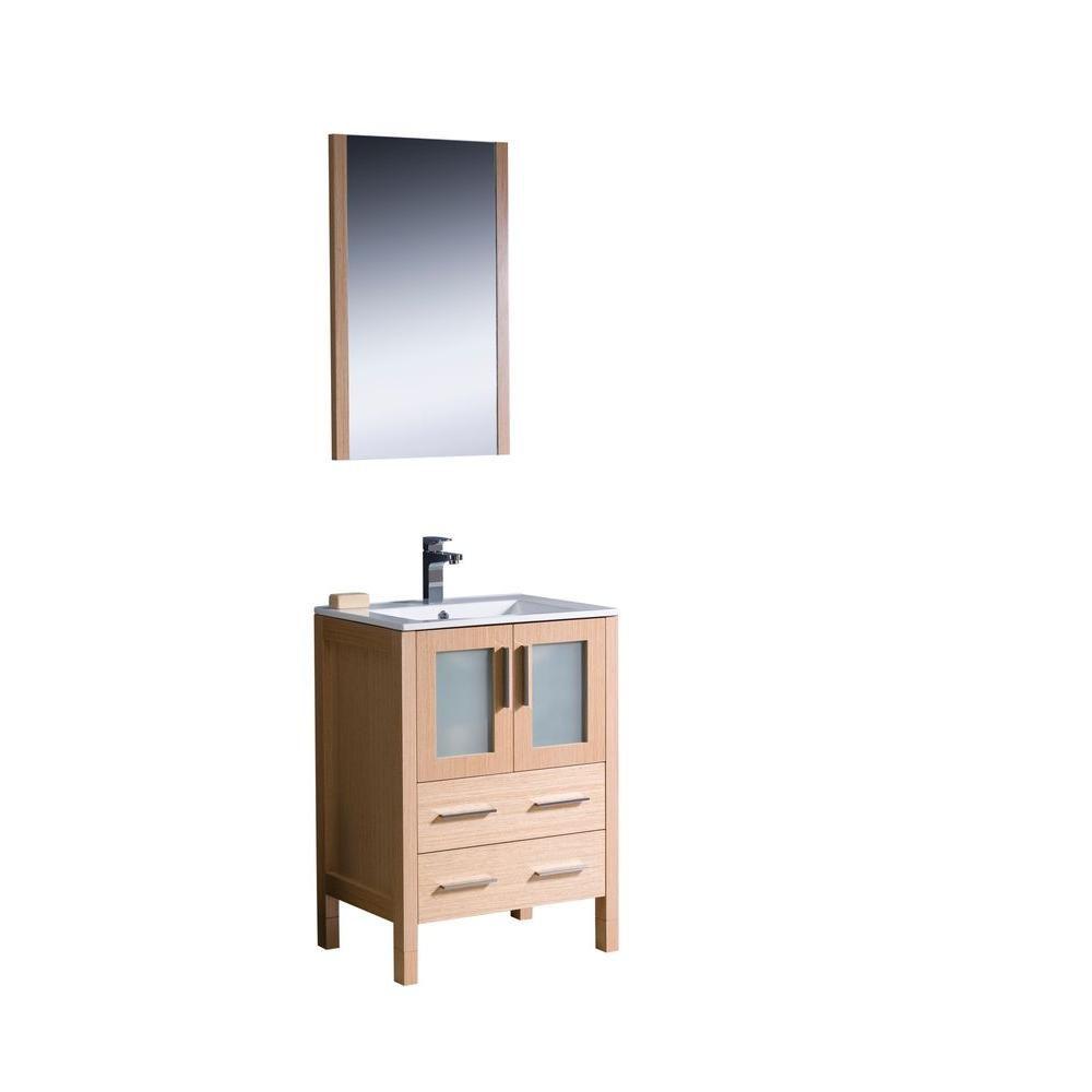 fresca torino meuble lavabo de salle de bains moderne 24 po ch ne clair avec vier sous comptoir. Black Bedroom Furniture Sets. Home Design Ideas