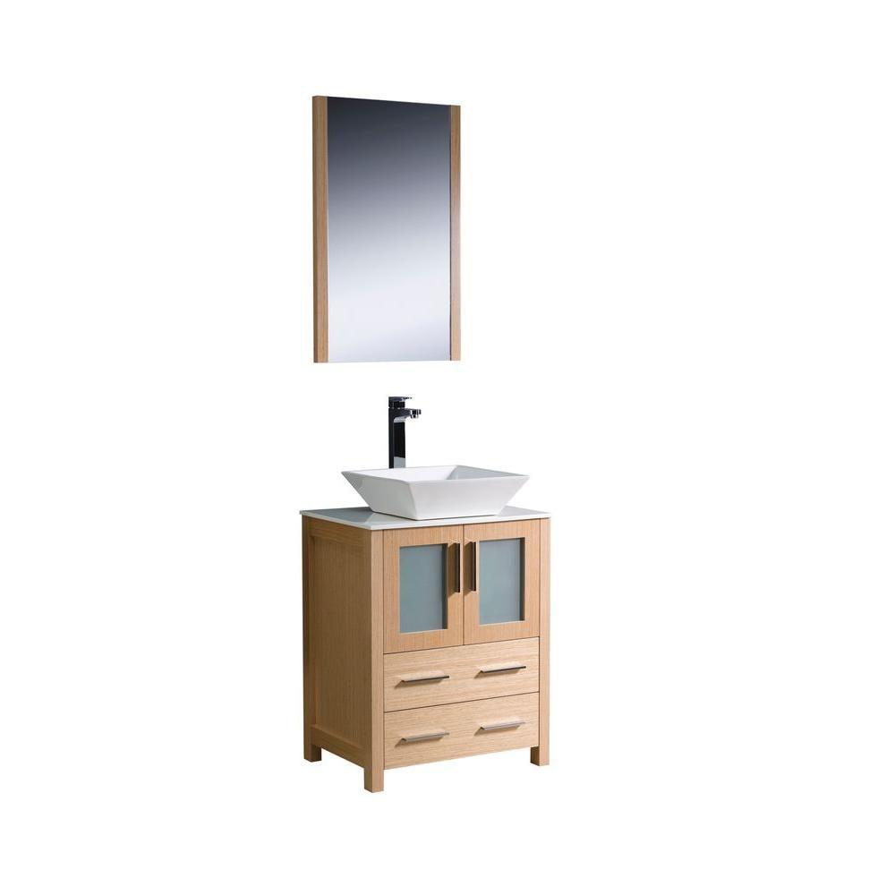 fresca torino meuble lavabo de salle de bains moderne 24 po ch ne clair avec vier vasque home. Black Bedroom Furniture Sets. Home Design Ideas