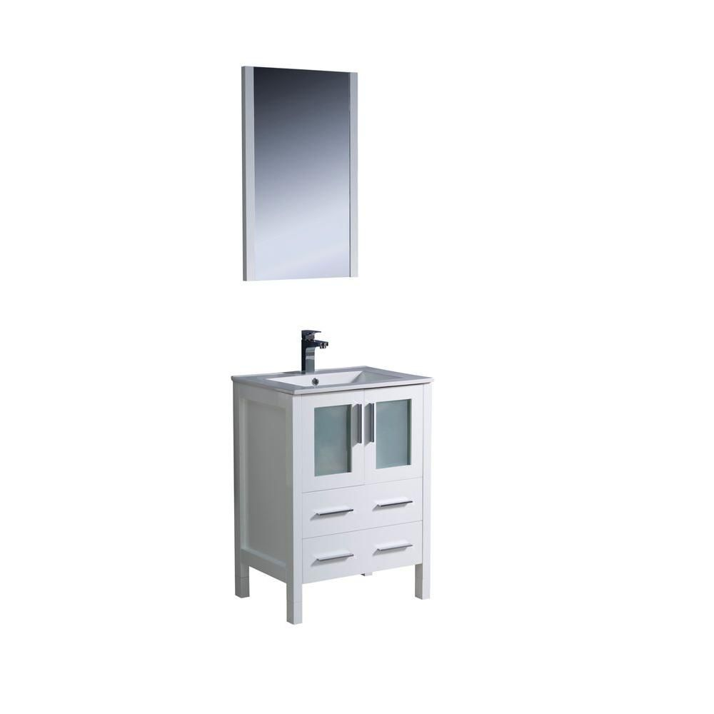 Torino 24-inch W Vanity in White Finish with Undermount Sink