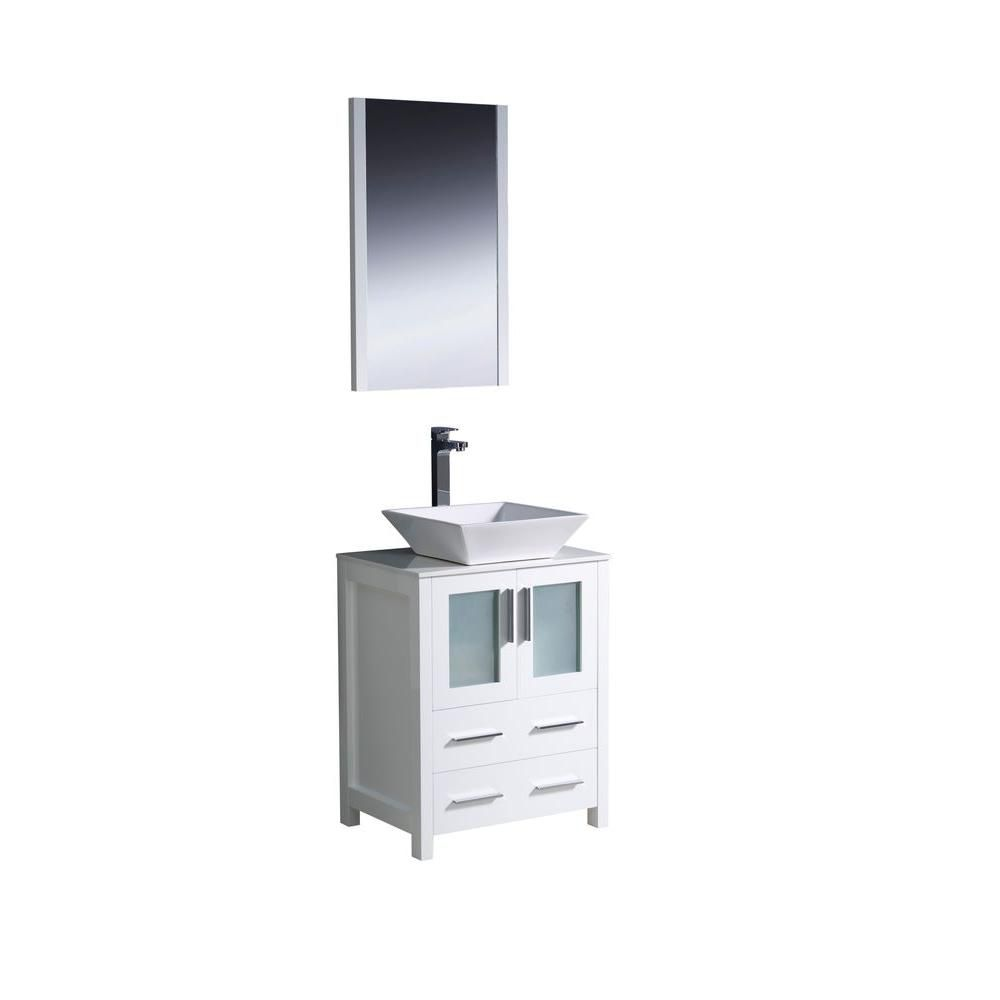 Torino 24-inch W Vanity in White Finish with Vessel Sink