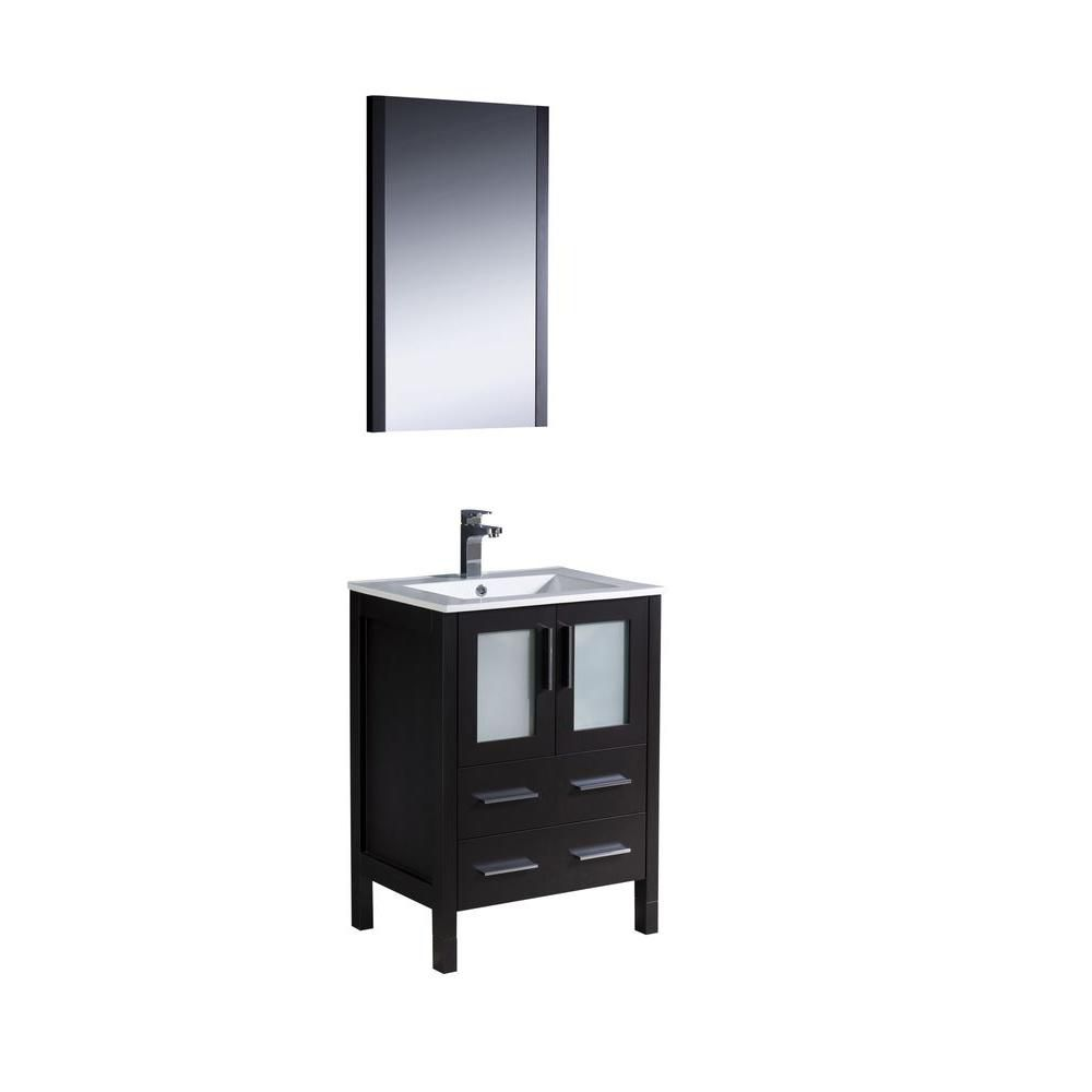 fresca torino 30 inch w 2 drawer 2 door vanity in black with ceramic top in white with faucet. Black Bedroom Furniture Sets. Home Design Ideas