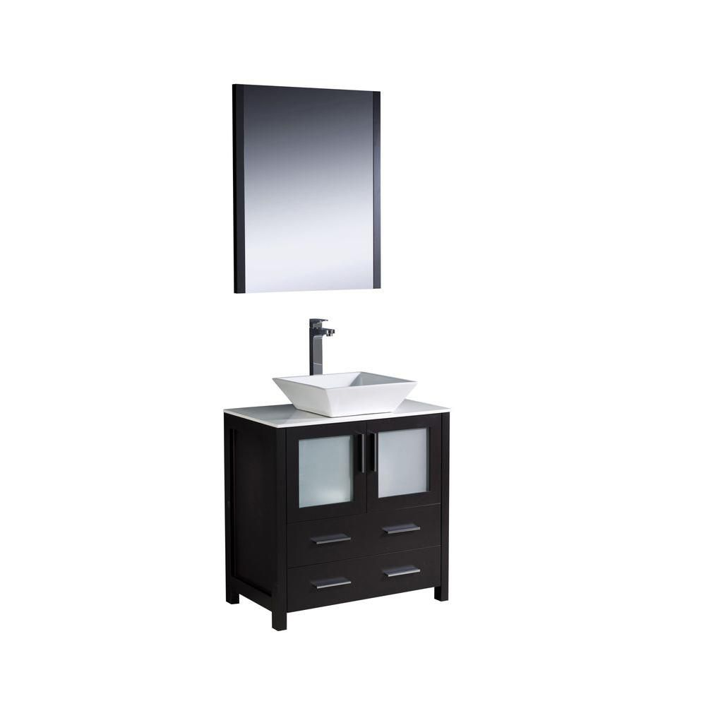 Torino 30-inch W Vanity in Espresso Finish with Vessel Sink