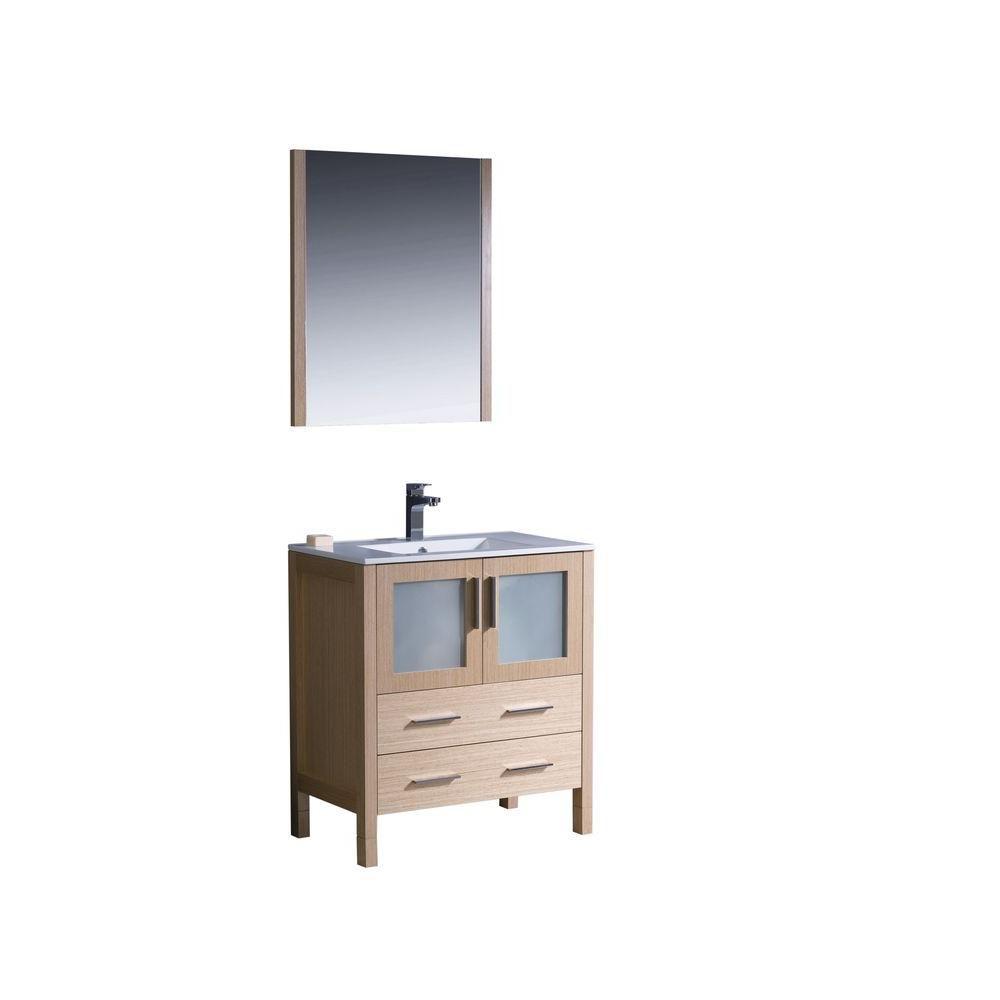 Torino 30-inch W Vanity in Light Oak Finish with Undermount Sink