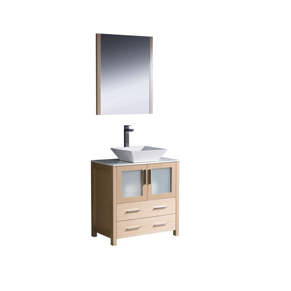 Torino Meuble-lavabo de salle de bains moderne 30 po chêne clair avec évier vasque