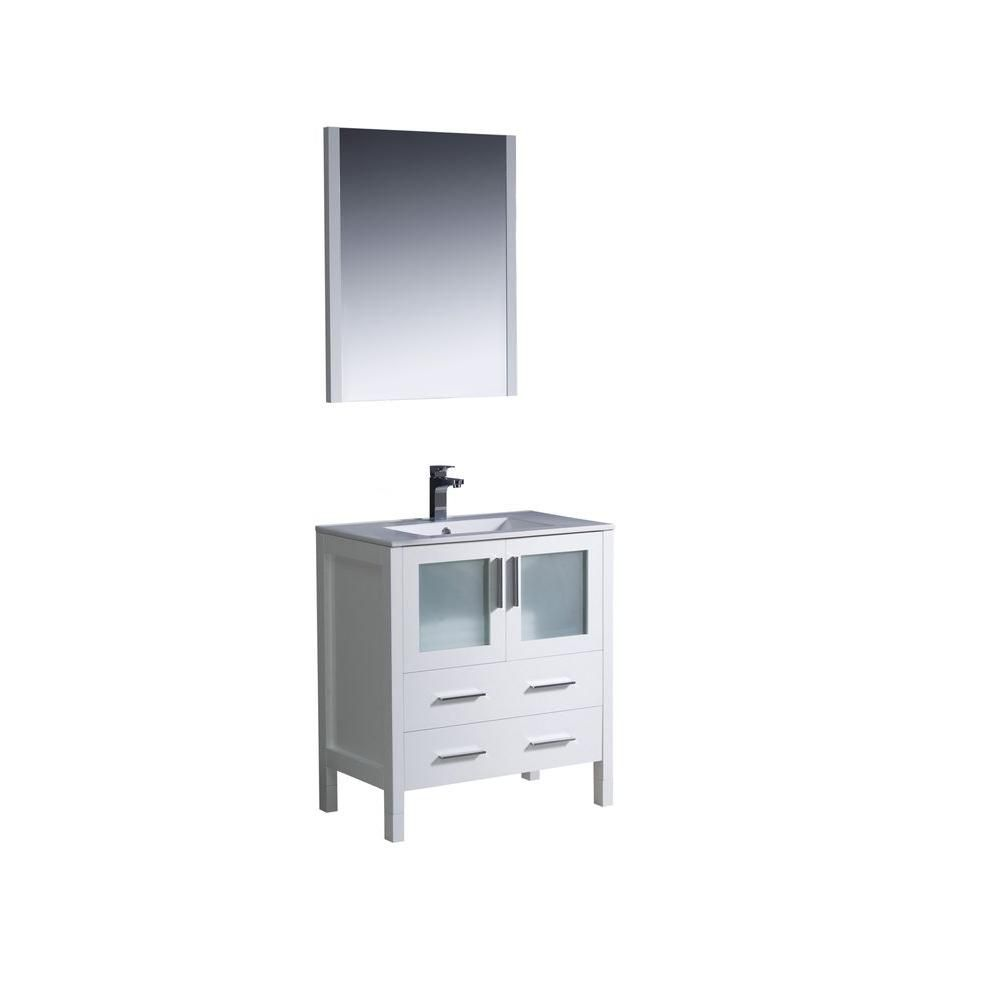Torino Meuble-lavabo de salle de bains moderne 30 po blanc avec évier sous-comptoir