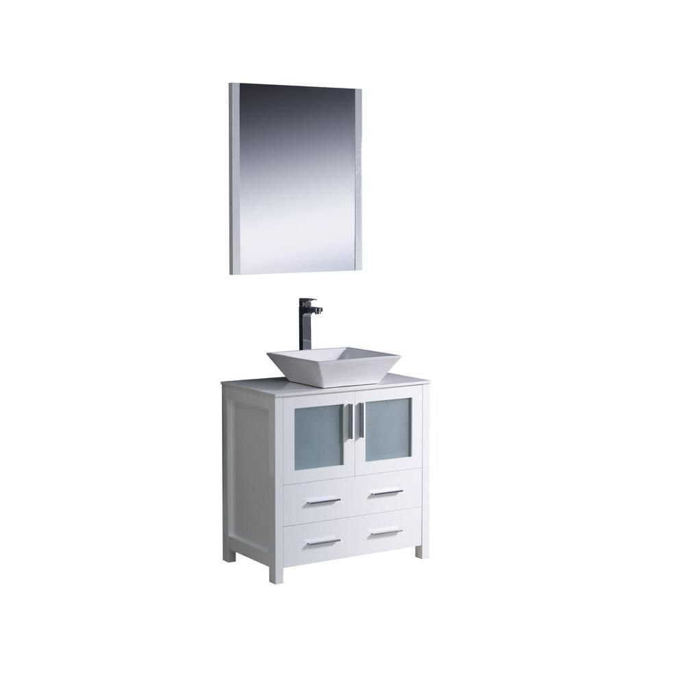 Torino 30-inch W Vanity in White Finish with Vessel Sink