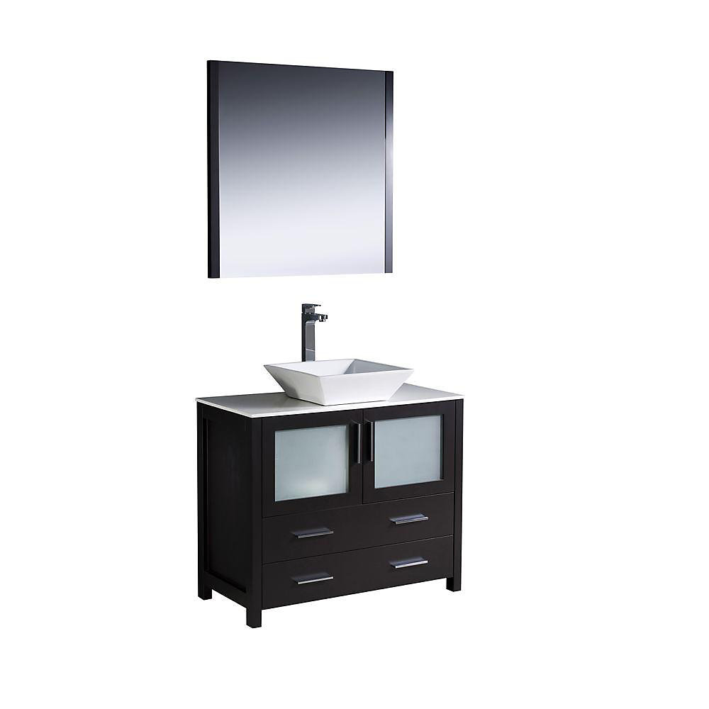 Torino 35.75-inch W 2-Drawer 2-Door Vanity in Black With Ceramic Top in White With Faucet And Mirror