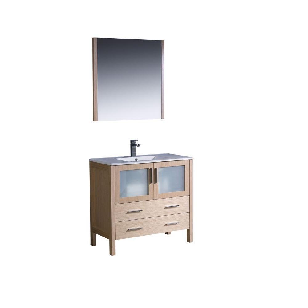 Torino 36-inch W Vanity in Light Oak Finish with Undermount Sink