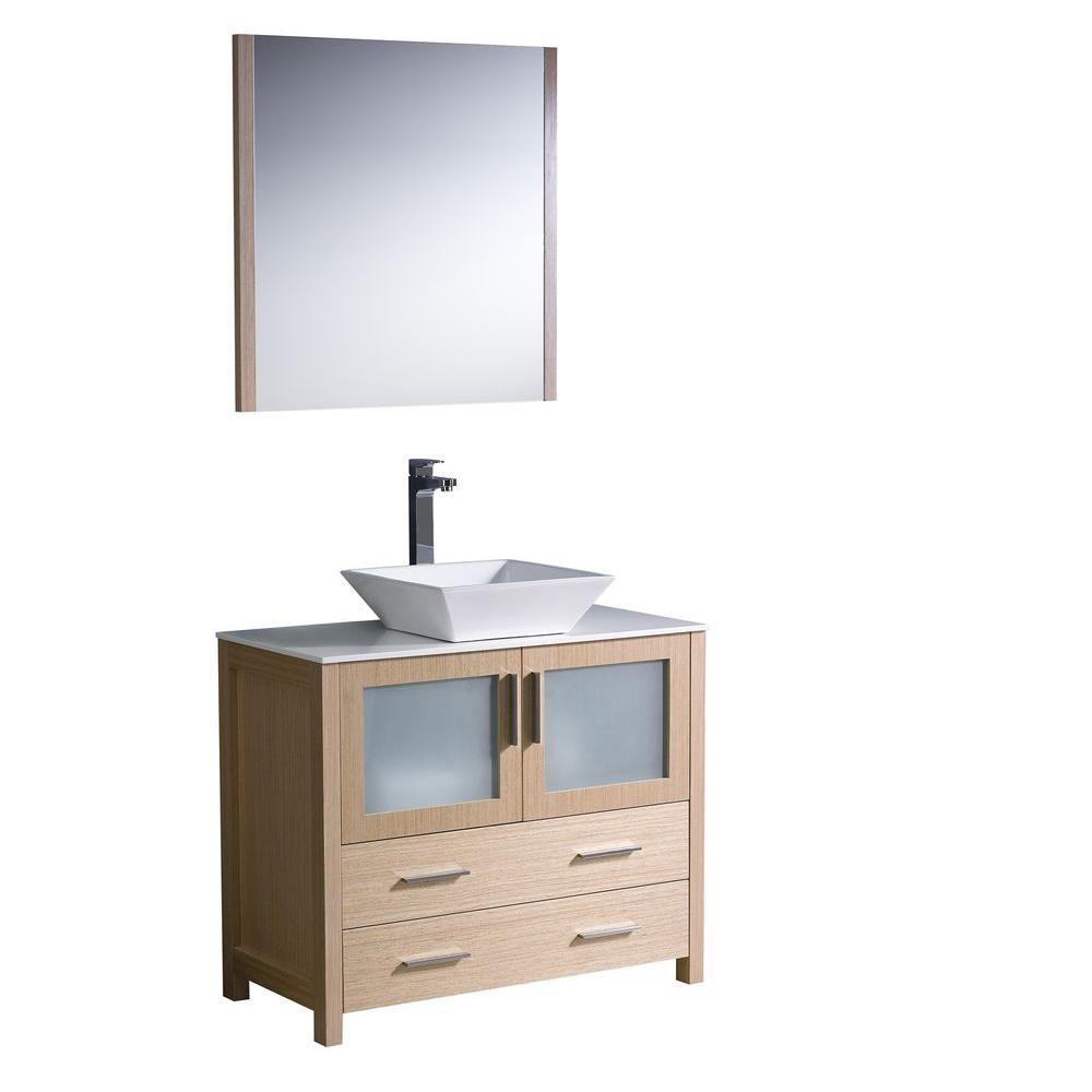 Torino 36-inch W Vanity in Light Oak Finish with Vessel Sink