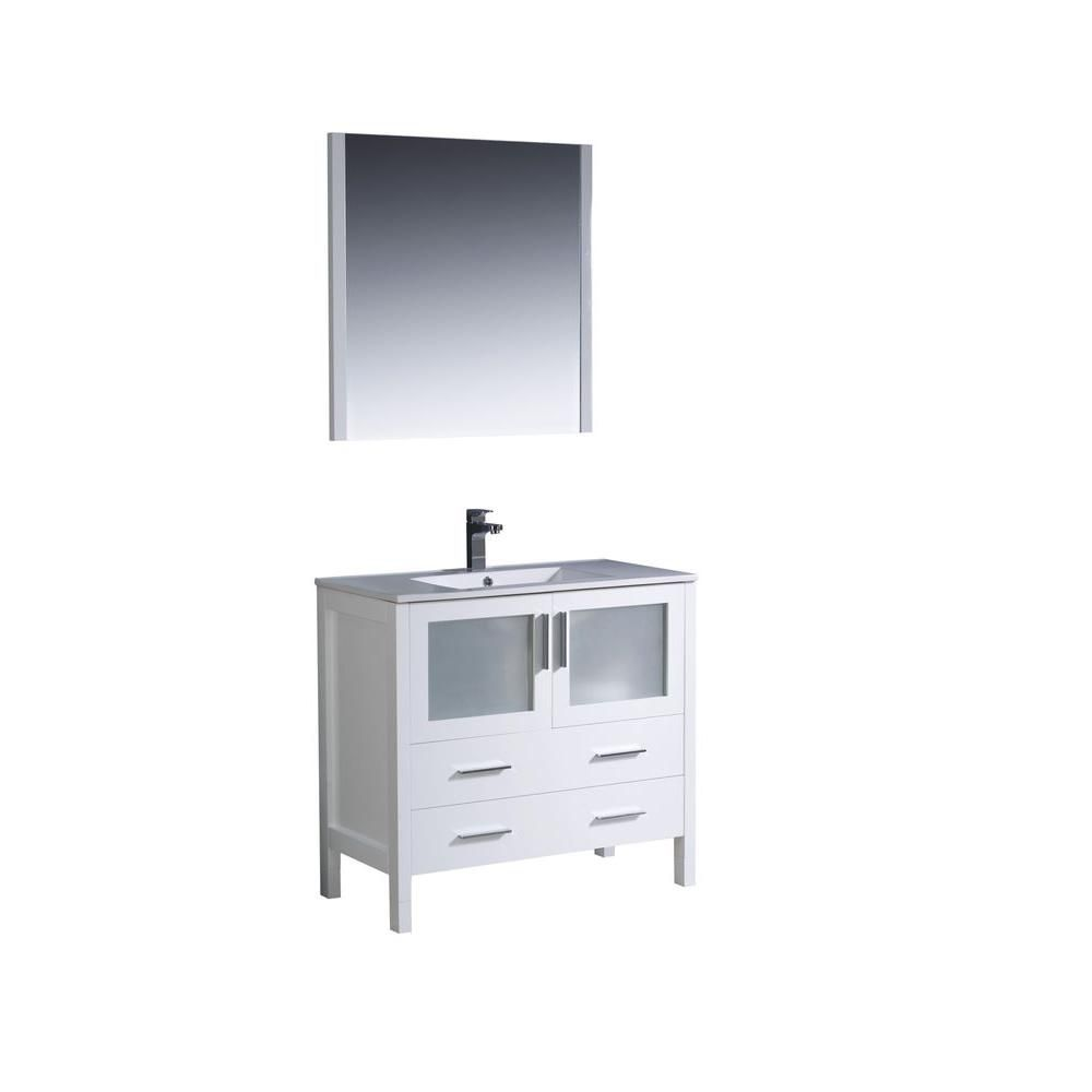 Torino 36-inch W Vanity in White Finish with Undermount Sink