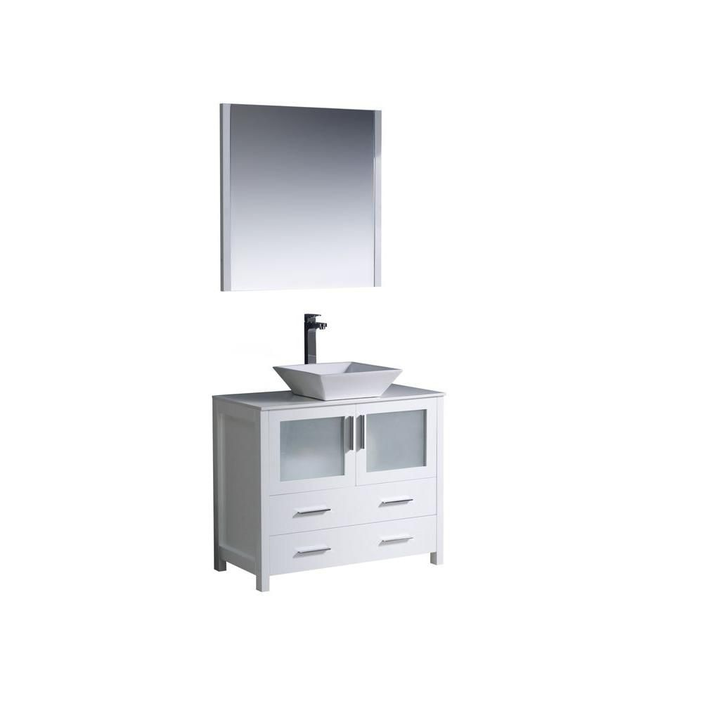 Torino 36 Inch White Modern Bathroom Vanity With Vessel Sink FVN6236WH-VSL Canada Discount
