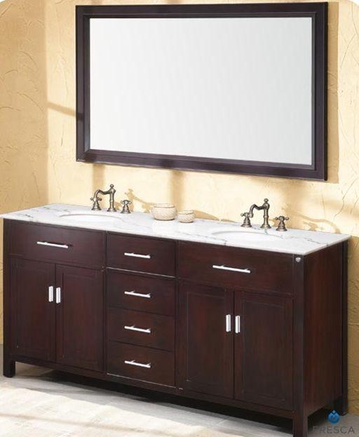 Fresca hampton traditionnel meuble lavabo de salle de - Double evier salle de bain ...