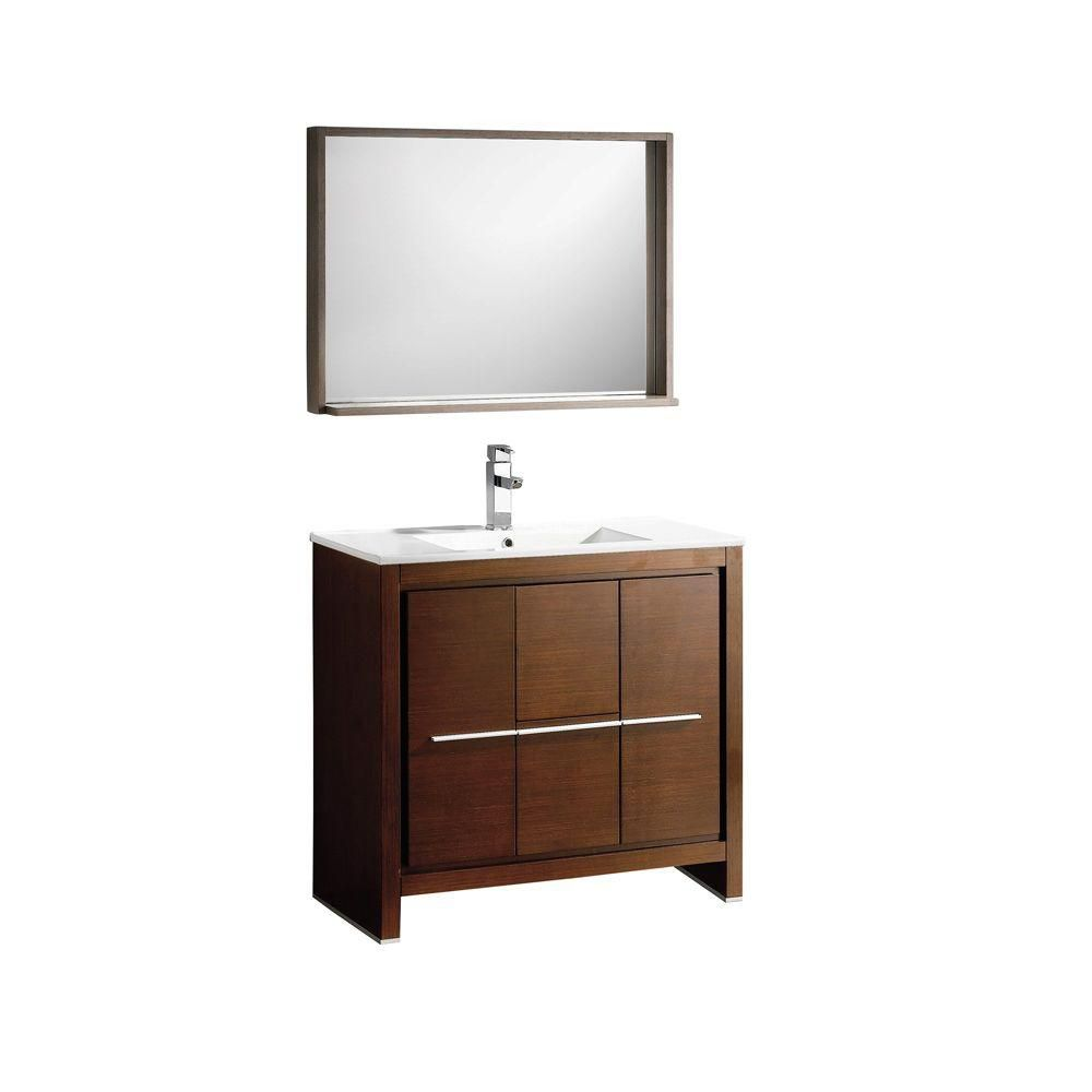 Allier 36-inch W Vanity in Wenge Brown Finish with Mirror