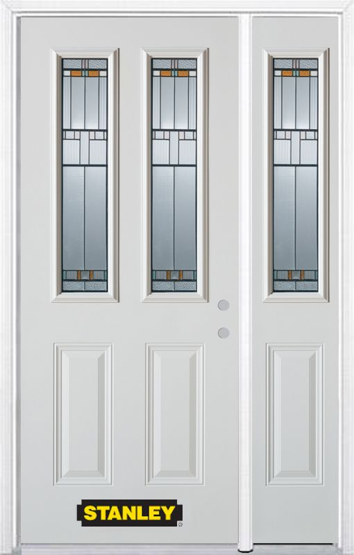 Stanley Doors 48.25 inch x 82.375 inch Chicago Patina 2-Lite 2-Panel Prefinished White Left-Hand Inswing Steel Prehung Front Door with Sidelite and Brickmould