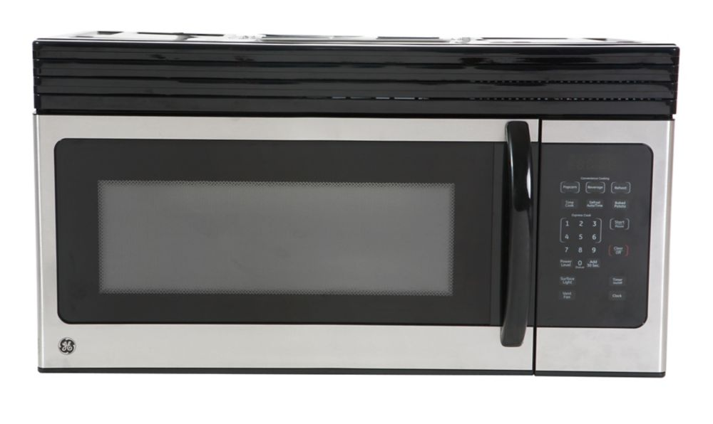 1 6 Cu Ft Over The Range Microwave Oven In Black On Stainless