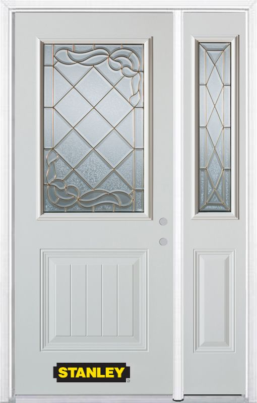 Stanley Doors 48.25 inch x 82.375 inch Queen Anne Brass 1/2 Lite 1-Panel Prefinished White Left-Hand Inswing Steel Prehung Front Door with Sidelite and Brickmould