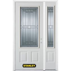 Stanley Doors 48.25 inch x 82.375 inch Seattle Zinc 3/4 Lite 2-Panel Prefinished White Left-Hand Inswing Steel Prehung Front Door with Sidelite and Brickmould