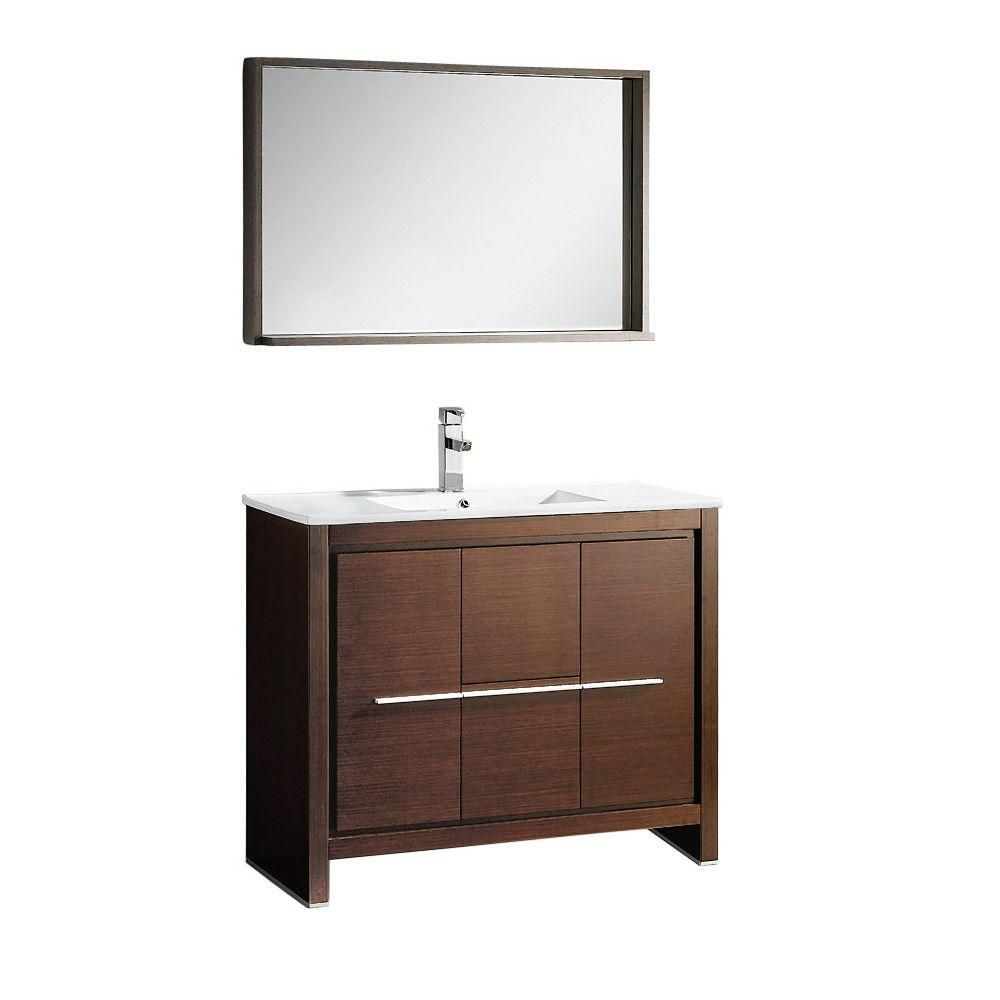 fresca allier meuble lavabo de salle de bains moderne en weng brun 40 po avec miroir home. Black Bedroom Furniture Sets. Home Design Ideas