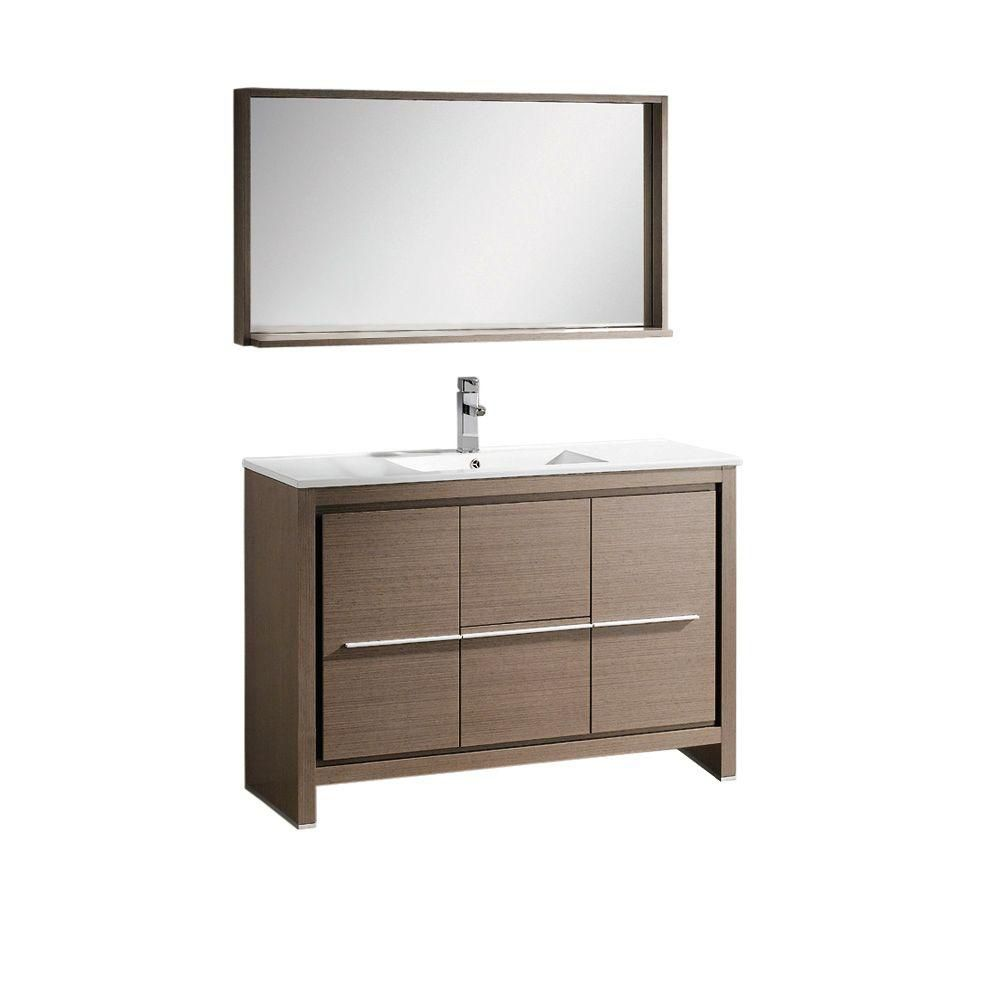 Allier 48 Inch Gray Oak Modern Bathroom Vanity With Mirror