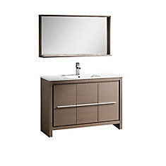 fresca allier meuble lavabo de salle de bains moderne en ch ne gris 48 po avec miroir home. Black Bedroom Furniture Sets. Home Design Ideas