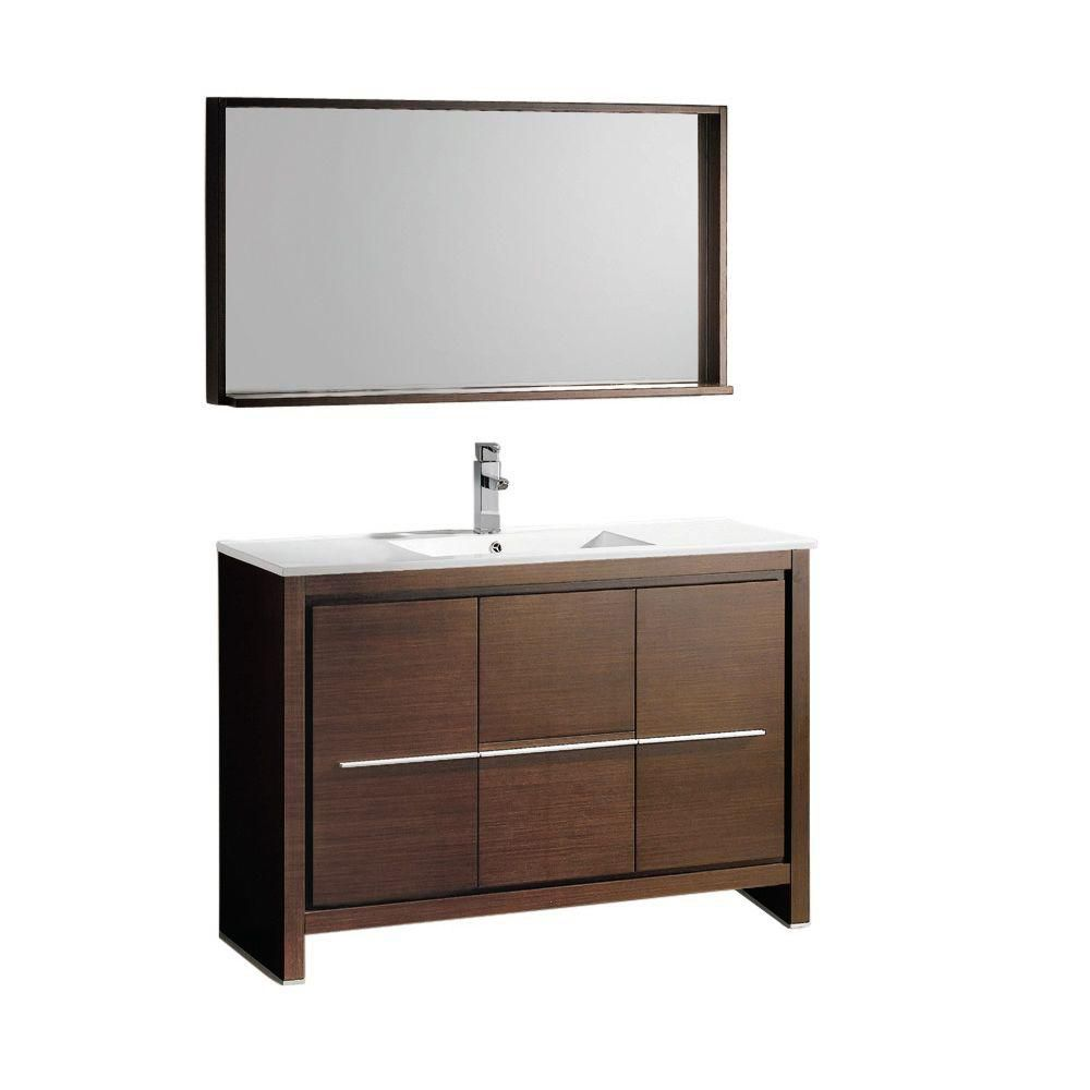 Allier Meuble-lavabo de salle de bains moderne en wengé brun 48 po avec miroir