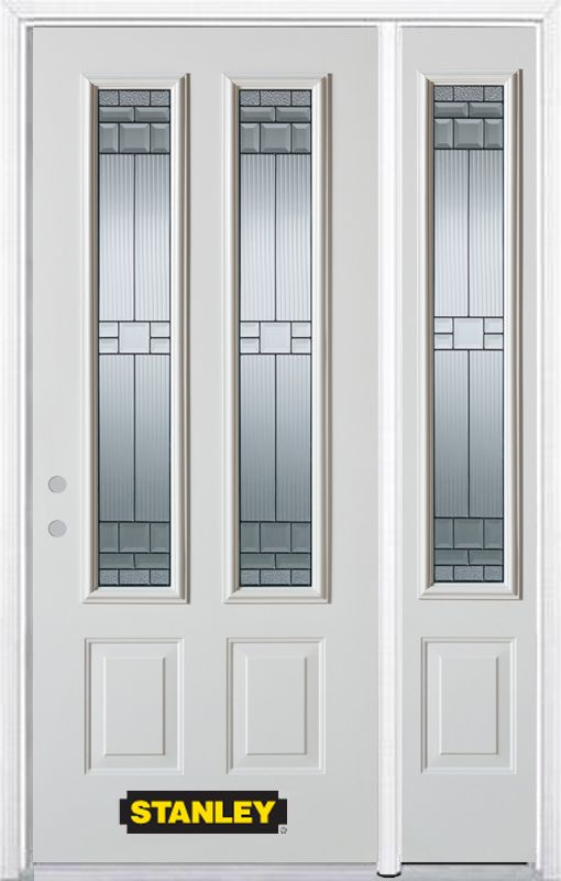 Stanley Doors 52.75 inch x 82.375 inch Seattle Zinc 2-Lite 2-Panel Prefinished White Right-Hand Inswing Steel Prehung Front Door with Sidelite and Brickmould