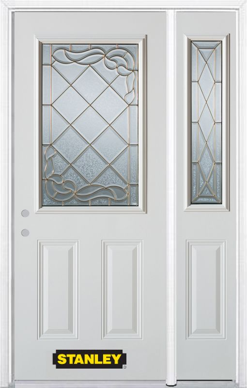 Stanley Doors 50.25 inch x 82.375 inch Queen Anne Brass 1/2 Lite 2-Panel Prefinished White Right-Hand Inswing Steel Prehung Front Door with Sidelite and Brickmould