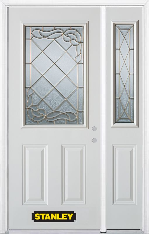 Stanley Doors 48.25 inch x 82.375 inch Queen Anne Brass 1/2 Lite 2-Panel Prefinished White Left-Hand Inswing Steel Prehung Front Door with Sidelite and Brickmould