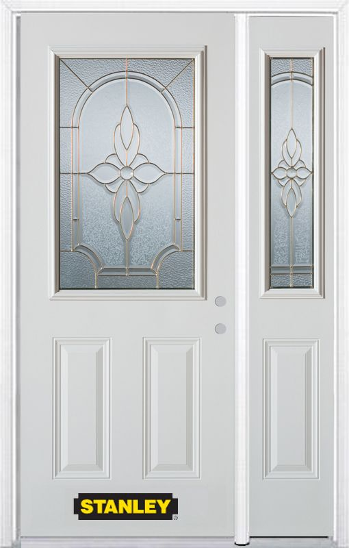 Stanley Doors 52.75 inch x 82.375 inch Trellis Brass 1/2 Lite 2-Panel Prefinished White Left-Hand Inswing Steel Prehung Front Door with Sidelite and Brickmould