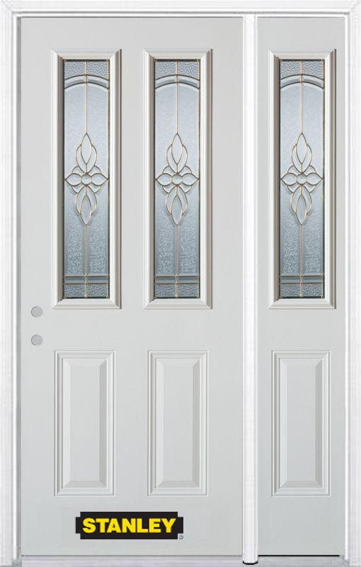 Stanley Doors 52.75 inch x 82.375 inch Trellis Brass 2-Lite 2-Panel Prefinished White Right-Hand Inswing Steel Prehung Front Door with Sidelite and Brickmould