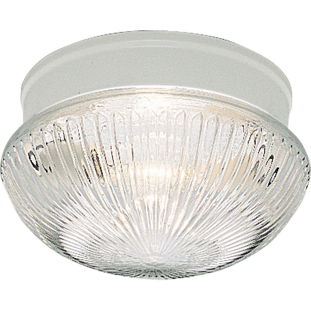 2-Light 60W White Finish Clear Prismatic Glass Flushmount