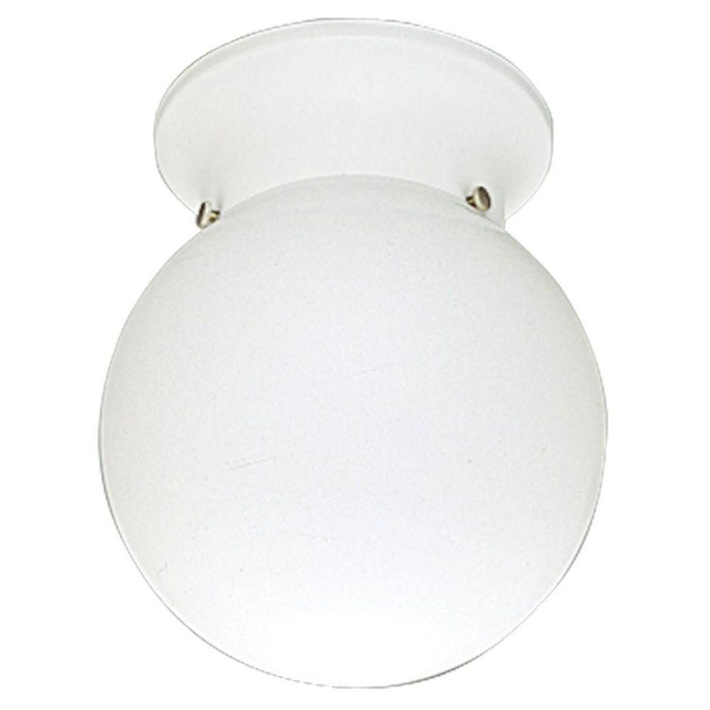 Progress Lighting 60W 1-Light White Globe Flushmount